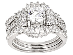 Pre-Owned White Cubic Zirconia Rhodium Over Sterling Silver Ring With Bands 3.23ctw