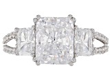 Pre-Owned White Cubic Zirconia Rhodium Over Sterling Silver Ring 9.09ctw