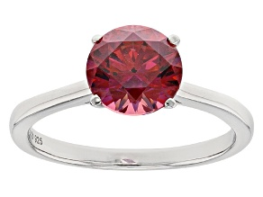 Pre-Owned Red Zirconia From Swarovski ® Rhodium Over Silver Ring 3.33ctw