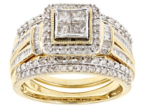 Pre-Owned White Diamond 10k Yellow Gold Ring With 2 Matching Bands 1.25ctw