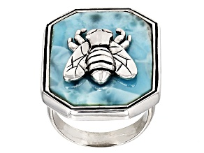 Pre-Owned Blue Larimar Sterling Silver Bumble Bee Ring