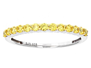 Pre-Owned Yellow Zirconia From Swarovski ® Rhodium Over Sterling Silver Ring 0.77ctw