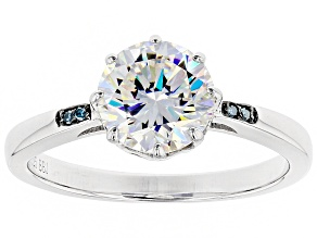 Pre-Owned White Fabulite Strontium Titanate And Blue Diamond Sterling Silver Ring 2.62ctw