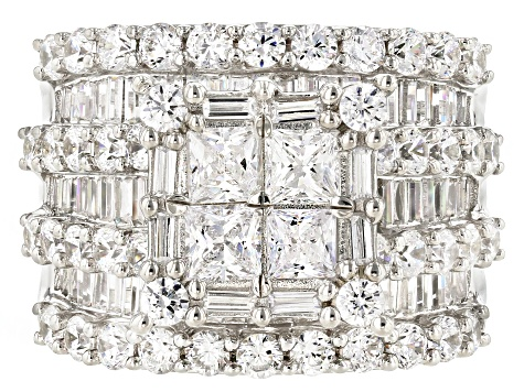Pre-Owned White Cubic Zirconia Rhodium Over Sterling Silver Ring 8.90ctw
