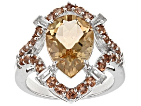 Pre-Owned Brown Champagne Quartz Silver Ring 4.10ctw