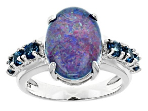 Pre-Owned Blue Austrailian Opal Triplet Sterling Silver Ring .76ctw