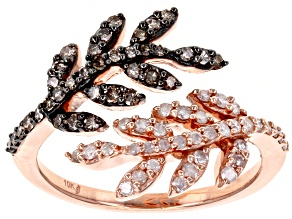 Pre-Owned Champagne And White Diamond 10k Rose Gold Ring .50ctw
