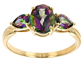 Pre-Owned Mystic Fire™ Green Topaz 10k Yellow Gold Ring 2.07ctw