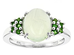 Pre-Owned Green Prehnite Sterling Silver Ring .15ctw