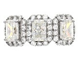 Pre-Owned White Fabulite Strontium Titanate And White Zircon Sterling Silver Ring 3.23ctw
