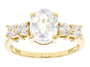 Pre-Owned White Zircon 10k Yellow Gold Ring 2.86ctw