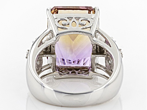 Pre-Owned Bi-color pineapple cut ametrine rhodium over silver ring 9.49ctw