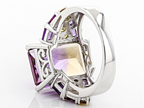 Pre-Owned Bi-color ametrine rhodium over sterling silver ring 7.81ctw