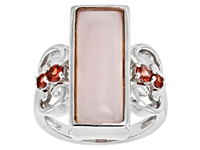 Pre-Owned Pink Opal Silver Ring .41ctw