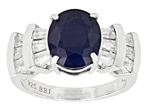 Pre-Owned Blue Sapphire Sterling Silver Ring 5.15ctw