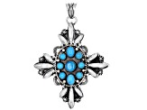 Pre-Owned Turquoise Sleeping Beauty Sterling Silver Cross Pendant
