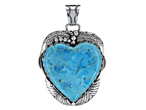 Pre-Owned Turquoise Blue Sterling Silver Pendant