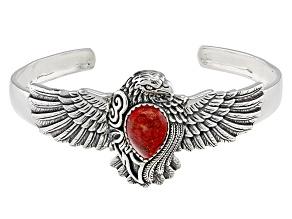 Pre-Owned Red Sponge Coral Eagle Cuff Bracelet