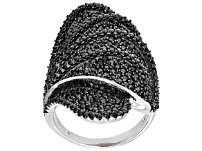 Pre-Owned Black Spinel Sterling Silver Ring 3.05ctw