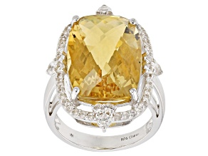 Pre-Owned Yellow citrine sterling silver ring 13.50ctw