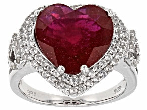 Pre-Owned Red Ruby Sterling Silver Heart Shape Ring 8.77ctw