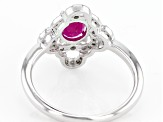 Pre-Owned Red Burmese Ruby Sterling Silver Ring .77ct