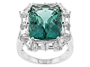 Pre-Owned Teal Fluorite Sterling Silver Ring 16.95ctw