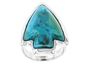 Pre-Owned Blue Turquoise Silver Arrowhead Ring