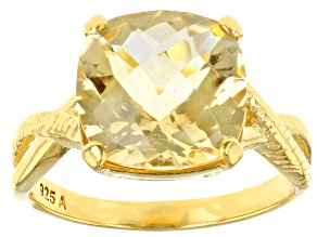 Pre-Owned Yellow Brazilian Citrine 18k Yellow Gold Over Sterling Silver Ring 6.50ct