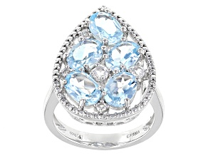 Pre-Owned Blue Topaz Sterling Silver Ring 5.26ctw