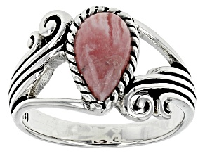 Pre-Owned Pink Rhodochrosite Silver Solitaire Ring