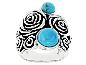 Pre-Owned Blue Turquoise Sterling Silver Rose Ring