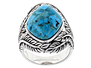 Pre-Owned Blue Turquoise Silver Feather Ring