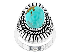 Pre-Owned Blue Turquoise Sterling Silver Solitaire Ring