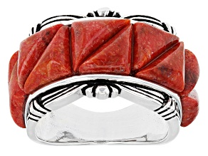 Pre-Owned Red Sponge Coral Silver Ring