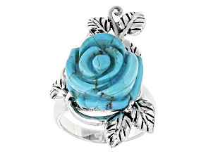 Pre-Owned Blue Turquoise Carved Rose Silver Ring