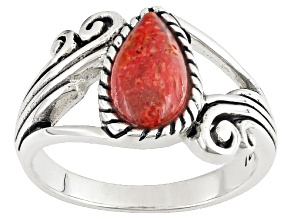 Pre-Owned Red Sponge Coral Silver Solitaire Ring
