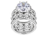 Pre-Owned Cubic Zirconia Silver Ring 12.36ctw (9.06ctw DEW)
