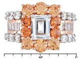 Pre-Owned White And Brown Cubic Zirconia 18k Rose Gold Over Silver Ring 10.23ctw (6.06ctw DEW)