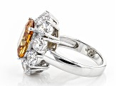 Pre-Owned Brown And White Cubic Zirconia Silver Ring 17.90ctw (10.60ctw DEW)
