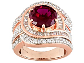 Pre-Owned Lab Created Ruby And White Cubic Zirconia 18k Rose Gold Over Silver Ring 7.33ctw