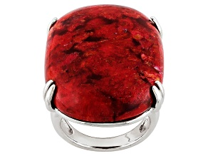 Pre-Owned Red Sponge Coral Solitaire Silver Ring
