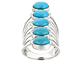 Pre-Owned Blue Morenci Turquoise Silver Ring