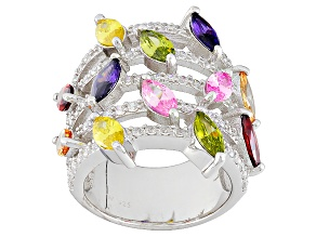 Pre-Owned Multicolor Cubic Zirconia Silver Ring 11.23ctw