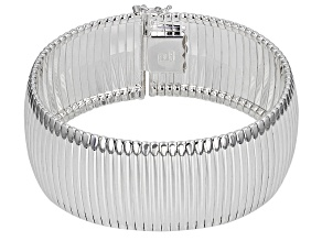 Pre-Owned Sterling Silver Cubetto Design Flex Bangle Bracelet 7.5 inch