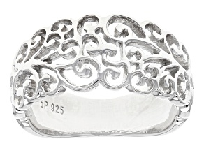 Pre-Owned Rhodium Over Sterling Silver Filigree Cut Band Ring