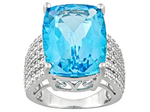 Pre-Owned Womens Bold Cocktail Ring Bright Blue Topaz Sterling Silver Solitaire Style Ring