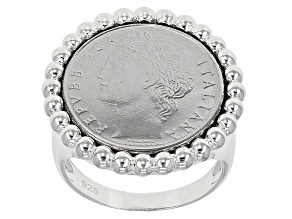 Pre-Owned 100 Lira Coin Sterling Silver Beaded Ring
