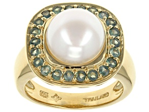 Pre-Owned White Cultured Freshwater Pearl, Chrysoberyl 18k Gold Over Silver Ring