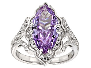 Pre-Owned Purple And White Cubic Zirconia Rhodium Over Sterling Silver Ring 7.01ctw